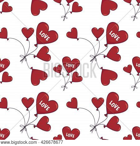 Seamless Pattern With Heart Shaped Balloons And The Word Love. Happy Valentine Day, Birthday Or Wedd