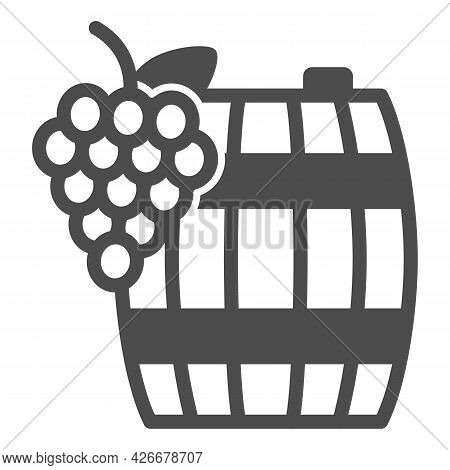 Grapes And Wine In Barrel Solid Icon, Winery Concept, Wooden Butt And Grape Cluster Vector Sign On W