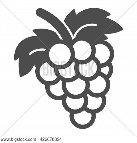 Bunch Of Grapes Solid Icon, Fruits And Berries Concept, Cluster Of Grapes Vector Sign On White Backg