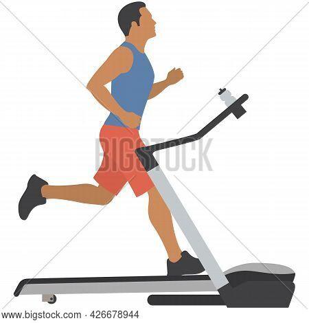Man On Treadmill Vector Gym Sport Fitness Machine