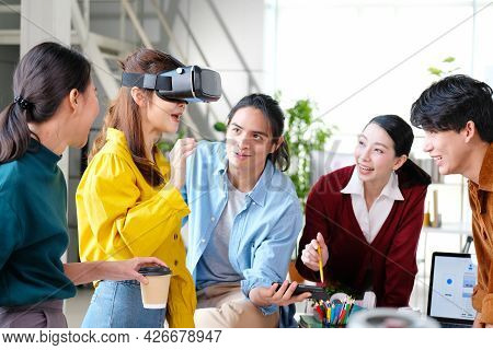 Vr Mobile Phone Application Test, Asian Woman With Virtual Reality Glasses Headset In Vr Experience,