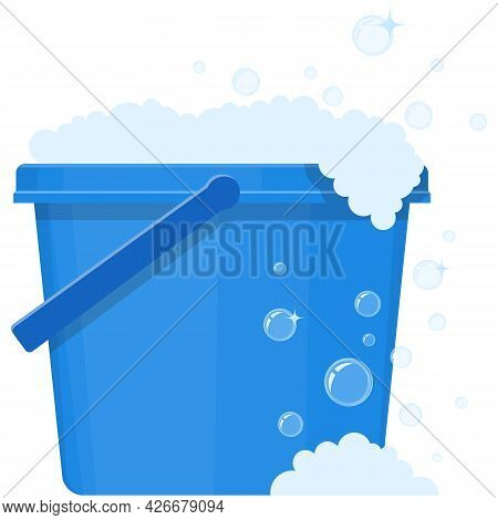 Vector Bucket With Wash Water Icon Plastic Pail Illustration