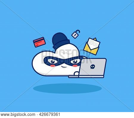 Cute Cloud Cartoon Hacking With Laptop. Digital Internet Hacking Cracking Illegal Valuable Data Brea