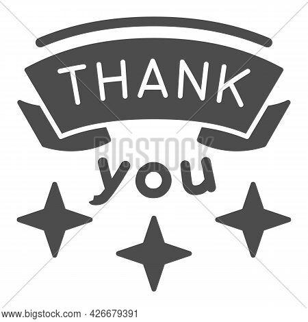 Inscription Gratitude Solid Icon, Thankfullness Appreciation Concept, Thank You Text Vector Sign On