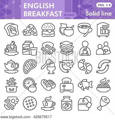 English Breakfast Line Icon Set, Food Symbols Collection Or Sketches. English Breakfast Linear Style