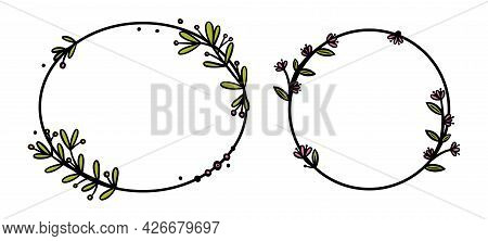 Rustic Wreaths Dividers With Handdrawn Flowers. Circle And Oval Doodle Wreaths With Colored Leaves A