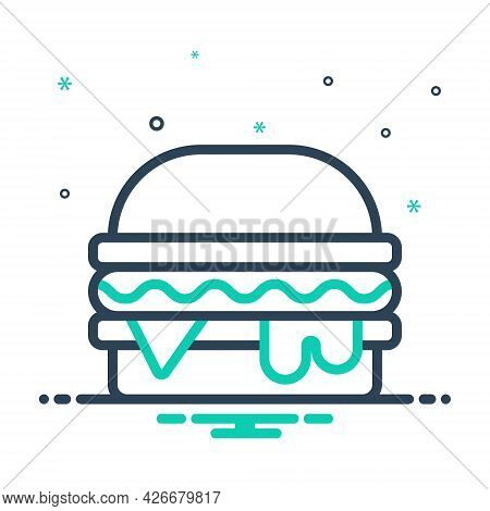 Mix Icon For Burger Hamburger Food Snack Delicious Cheese  Junk-food Unhealthy