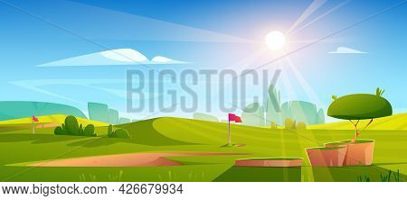 Golf Course Nature Landscape, Green Grass, Pole Flag, Hole For Ball And Trees Under Blue Sky With Br