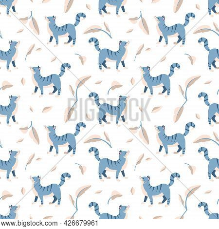 Seamless Pattern With Blue Tabby Cat And Leaves. Pet And Plant Print For Wrapping Paper, Textiles An