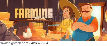 Farmers In Barn Cartoon Banner, Ranchers Farm House With Chicken And Vegetable Or Fruit Crop. Agricu