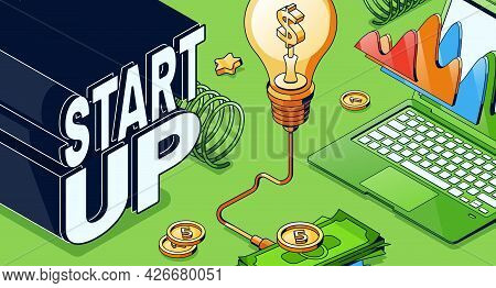 Startup Isometric Business Concept With Glowing Light Bulb, Laptop With Data Chart And Money Pile. S