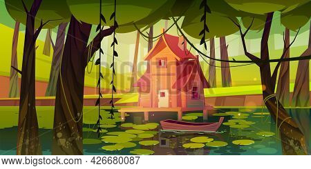 Stilt House At Forest Swamp With Moored Wooden Boat. Old Shack On Piles In Fantasy Wood, Witch Hut,
