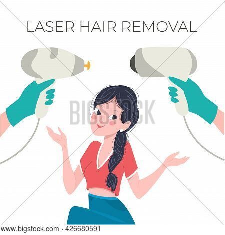 Laser Hair Removal Concept. Young Girl With Diode And Alexandrite Epilator, Vector Illustration In F
