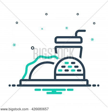 Mix Icon For Food Meal Edible Eatable Comestible Pabulary Fast-food  Fast Restaurant Unhealthy Junk-