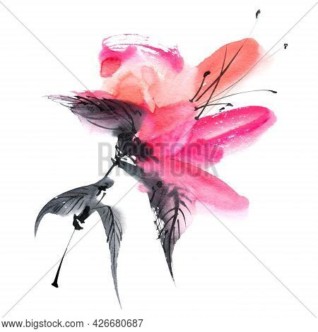 Watercolor And Ink Illustration Of Pink Flower On White Background. Oriental Traditional Painting In