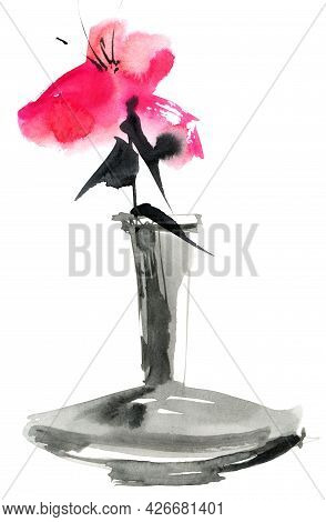 Watercolor And Ink Illustration Of Pink Flower In A Vase On White Background. Oriental Traditional P