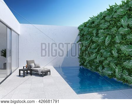 Courtyard with vertical garden chaise lounge and swimming pool. 3D illustration, rendering.