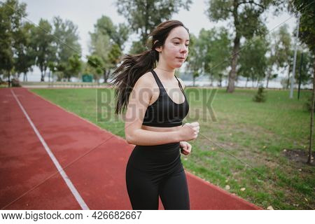 Fitness Young Woman Model Healthy Lifestyle Outdoor Doing Sports Workout