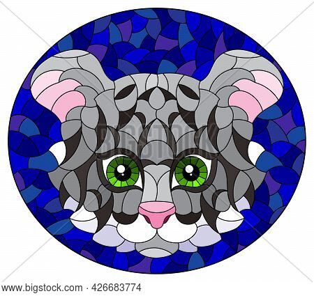 The Illustration In Stained Glass Style Painting With A Tiger's Head On A Blue Background, Oval Imag