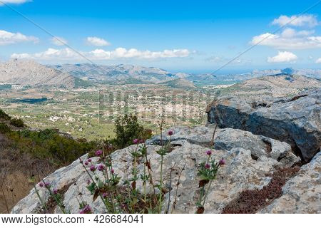 Picturesque Val De Pop And Its Small Towns Below Coll De Rates Mountains In Valencia Province In Spa