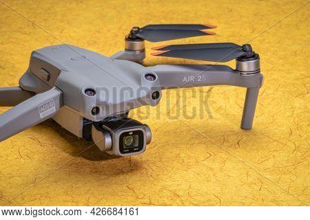 Fort Collins, CO, USA - July 12, 2021: New DJI Mavic Air 2s - an advanced prosumer folding lightweight drone.