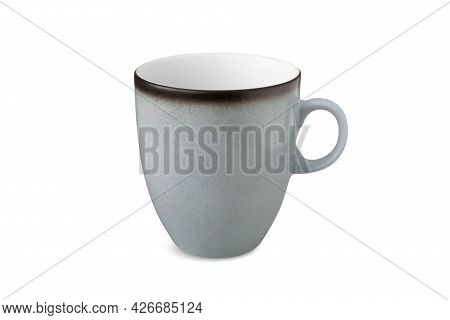Blue Shabby Tea Cup And Saucer For Drink Isolated On White Background. Ceramic Coffee Cup Or Mug Clo