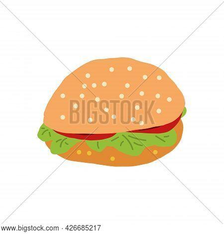 Hamburger Hand Drawn Vector. Cartoon, Icon, Sticker. Menu Fast Food Cafe