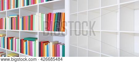 Empty and full bookshelf Empty and full bookshelf