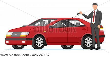 Passenger Car And Businessman Holding Key. Sedan And Man. Modern City Car Isolated. Color Urban Vehi