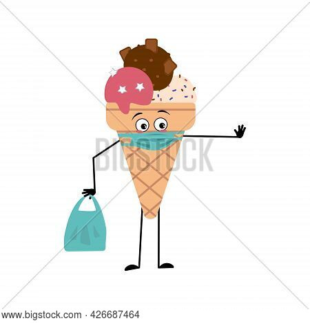 Cute Ice Cream Character With Emotions, Face In A Mask Keep At A Distance, Hands With A Shopping Bag
