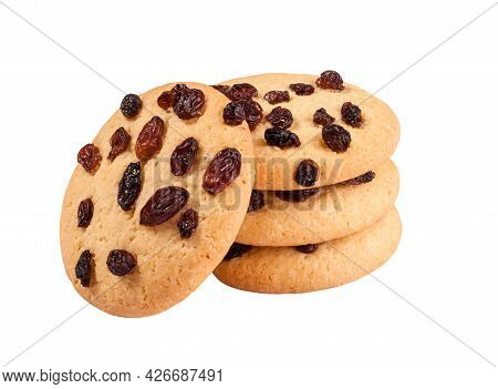 Closeup Of Shortbread Cookies With Raisins Isolated On White