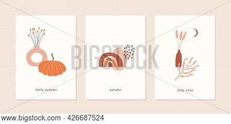 Set Of Autumn Mood Greeting Card Template With Vase Of Potted Dry Plants, Pumpkin And Abstract Geome