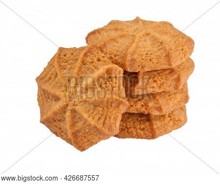 Butter Shortbread Homemade Biscuits Isolated On White Background