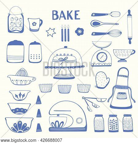 Baking Kitchen Icon Set, Vector Illustrations Of Home Cooking Equipment, Cute Hand Drawn Blue Outlin