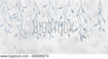 Fancy Hanging Branches Of A Plant On A Gray Concrete Wall. Watercolor Grunge Illustration For Photo