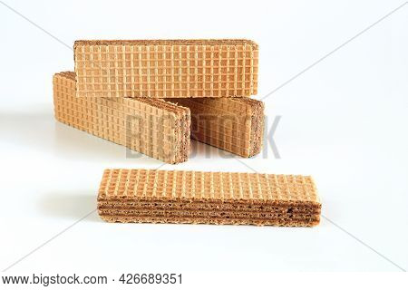 Wafers With Chocolate On White Background. Food Health.