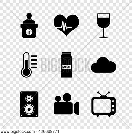 Set Information Desk, Heart Rate, Wine Glass, Stereo Speaker, Movie Video Camera And Television Tv I