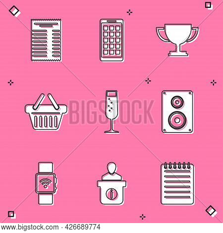Set Paper Or Financial Check, Mobile Apps, Trophy Cup, Shopping Basket, Glass Of Champagne And Stere