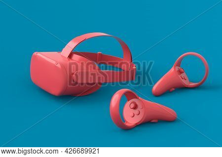 Virtual Reality Monochrome Glasses And Controllers For Online And Cloud Gaming On Blue And Pink Back