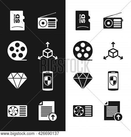 Set Isometric Cube, Film Reel, Micro Sd Memory Card, Radio, Diamond And Smartphone With Shield Icon.