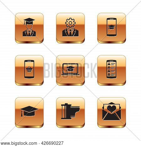Set Graduate With Graduation Cap, Graduation, Camera Film Roll Cartridge, Laptop, Shopping Basket Mo