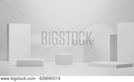 3d Render Of Minimal Display Podium Design For Mock Up And Product Presentation. Pedestal Stage With