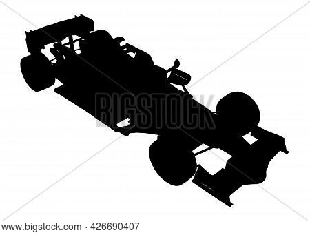 Silhouette Of A Racing Car Isolated On A White Background. Isometric View. Vector Illustration