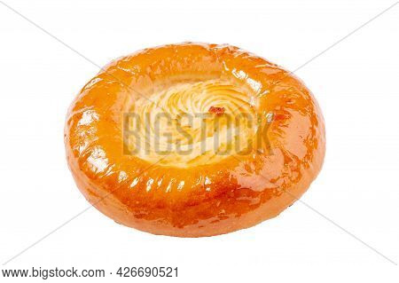 Vatrushka With Cottage Cheese Filling Isolated On White Background