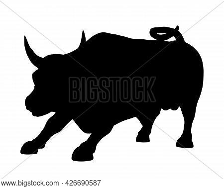Silhouette Of A Running Bull Isolated On A White Background. Vector Illustration