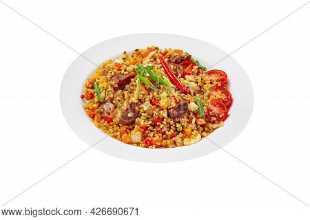 Barley And Veal Pilaf With Vegetables Isolated On White