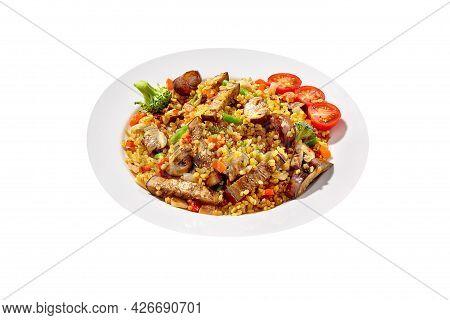 Vegetarian Barley Pilaf With Eggplants, Mushrooms, Broccoli, Tomatoes