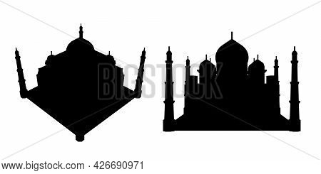 Silhouette Of Taj Mahal Isolated On White Background. Vector Illustration