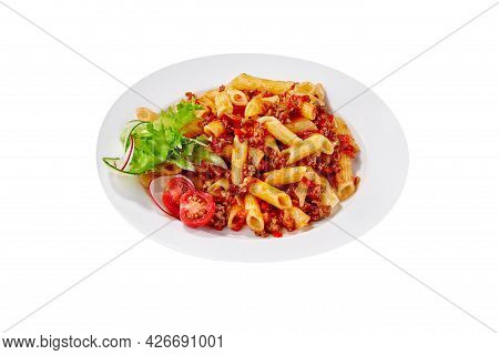Penne Pasta With Bolognese Sauce Isolated On White Background