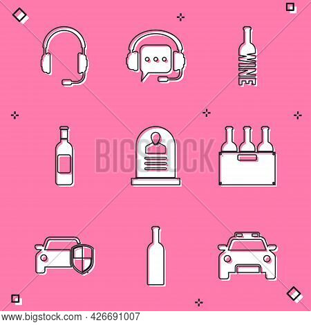 Set Headphones With Microphone, Speech Bubble, Bottle Of Wine, , Tombstone Rip Written And Bottles B